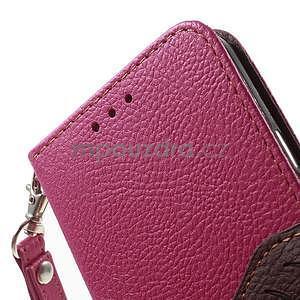 Rose/hnedé kožené puzdro na Samsung Galaxy A3 - 6
