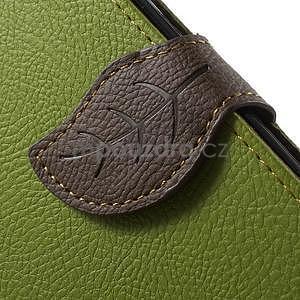 Zelené/hnedé kožené puzdro na Samsung Galaxy A3 - 6