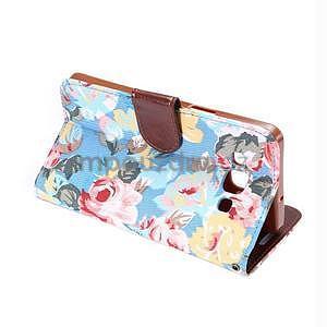Kvetinové peňaženkové puzdro pre Samsung Galaxy A5 - modré - 6