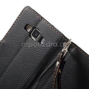 Čierné/hnedé kožené puzdro na Samsung Galaxy A5 - 6