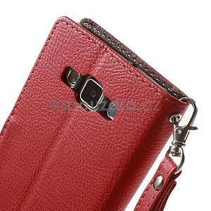 Červené/hnedé kožené puzdro na Samsung Galaxy A5 - 6