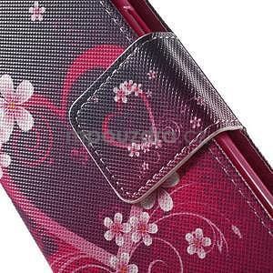 Zapínací peněženkové pouzdro na Samsung Galaxy S5 mini - květinové srdce - 6
