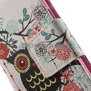 Zapínací peňaženkové puzdro pre Samsung Galaxy S5 mini - kvetinová sova - 6
