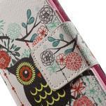 Zapínací peňaženkové puzdro pre Samsung Galaxy S5 mini - kvetinová sova - 6/7
