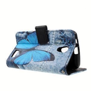 Peňaženkové puzdro pre mobil Lenovo A319 - modrý motýľ - 6