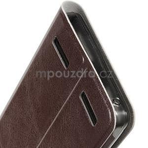 Peňaženkové PU kožené puzdro na Lenovo A6000 -  hnedé - 6