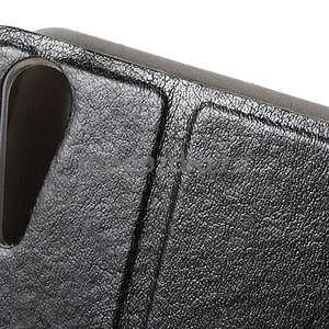 Peňaženkové PU kožené puzdro pre Lenovo A6000 - čierne - 6