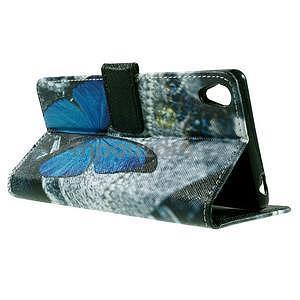PU kožené peňaženkové puzdro na Lenovo S850 -  modrý motýľ - 6