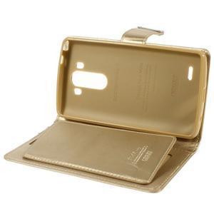 Luxusní PU kožené pouzdro na mobil LG G3 - zlaté - 6