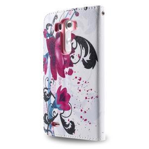 Motive koženkové pouzdro na LG G3 - fialový květ - 6