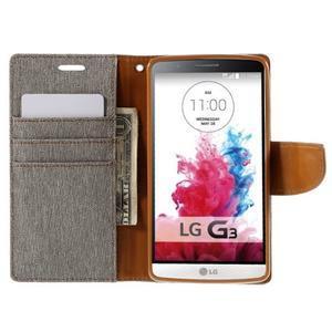 Canvas PU kožené/textilní pouzdro na LG G3 - šedé - 6