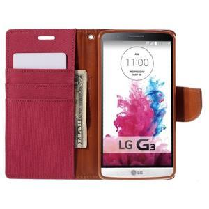 Canvas PU kožené/textilné puzdro pre LG G3 - rose - 6