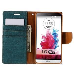 Canvas PU kožené/textilné puzdro pre LG G3 - zelené - 6
