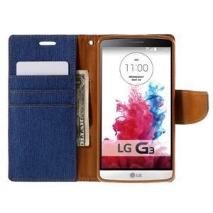 Canvas PU kožené/textilní pouzdro na LG G3 - modré - 6