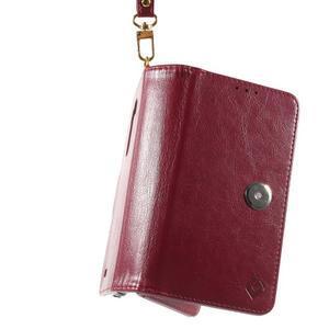 Patrové peněženkové pouzdro na mobil LG G3 - vínově červené - 6