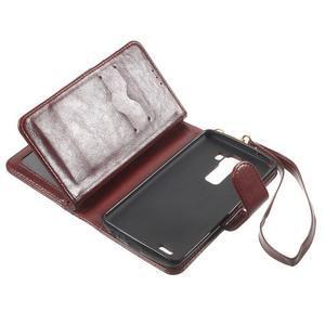 Patrové peňaženkové puzdro pre mobil LG G3 - hnedé - 6