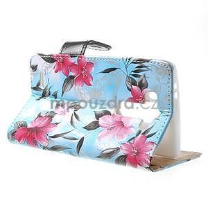 Elegantné lilie peňaženkové puzdro na LG G3 s - tyrkysové - 6