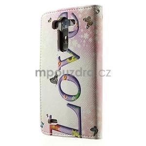 Zapínací peňaženkové puzdro pre LG G3 s - love - 6