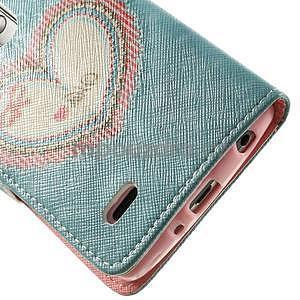 Zapínací peňaženkové puzdro pre LG G3 s - srdce - 6