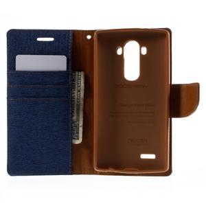 Canvas PU kožené/textilní pouzdro na mobil LG G4 - modré - 6