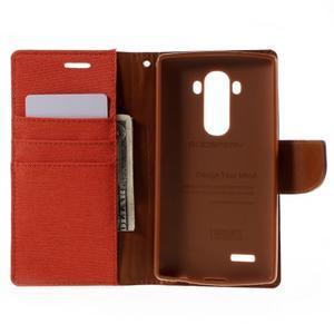 Canvas PU kožené/textilní pouzdro na mobil LG G4 - oranžové - 6