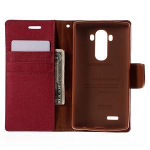 Canvas PU kožené/textilní pouzdro na mobil LG G4 - červené - 6