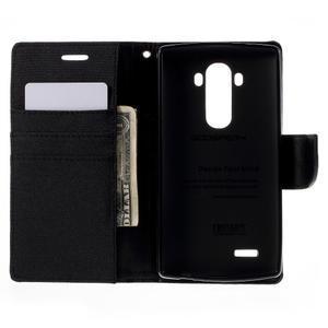 Canvas PU kožené/textilné puzdro pre mobil LG G4 - čierne - 6