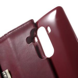 Luxury PU kožené puzdro pre mobil LG G4 - vínove červené - 6