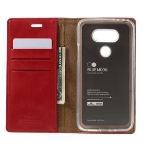 Luxury PU kožené puzdro pre mobil LG G5 - červené - 6