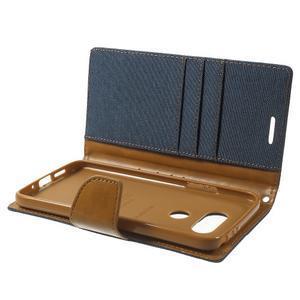 Canvas PU kožené/textilní pouzdro na LG G5 - tmavěmodré - 6