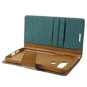 Canvas PU kožené/textilné puzdro pre LG G5 - zelené - 6