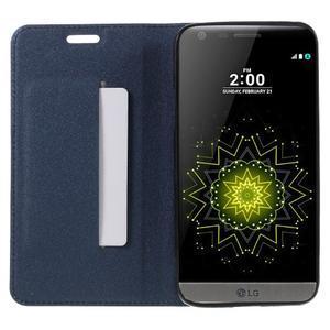 Klopové peneženkové pouzdro na LG G5 - tmavěmodré - 6