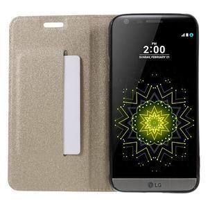 Klopové peňaženkové puzdro pre LG G5 - zlaté - 6