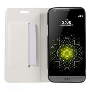 Klopové peňaženkové puzdro pre LG G5 - biele - 6