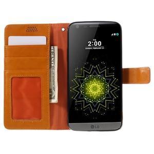 Wax peňaženkové puzdro pre LG G5 - oranžové - 6