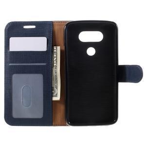 Cloth koženkové peňaženkové puzdro pre LG G5 - tmavomodré - 6
