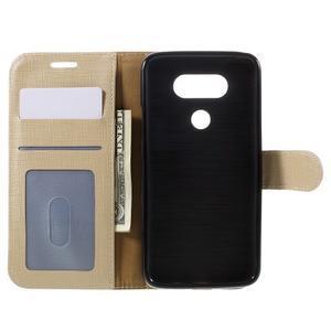 Cloth koženkové peněženkové pouzdro na LG G5 - béžové - 6