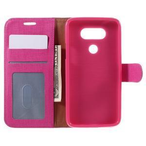 Cloth koženkové peněženkové pouzdro na LG G5 - rose - 6