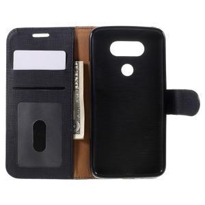 Cloth koženkové peňaženkové puzdro pre LG G5 - čierne - 6