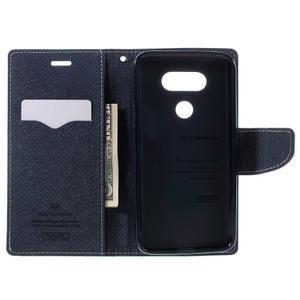 Goos stylové PU kožené pouzdro na LG G5 - cyan - 6