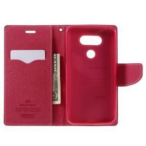 Goos stylové PU kožené pouzdro na LG G5 - růžové - 6