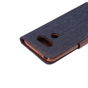Jeans peňaženkové puzdro pre LG G5 - černomodré - 6