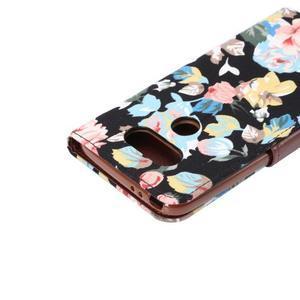 Kvetinové puzdro pre mobil LG G5 - čierny vzor - 6