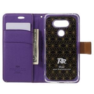 Diary PU kožené puzdro pre mobil LG G5 - fialové - 6