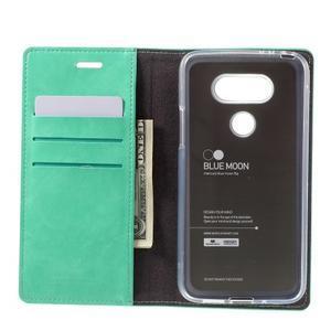 Luxury PU kožené puzdro pre mobil LG G5 - cyan - 6