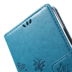 Buttefly PU kožené pouzdro na Microsoft Lumia 950 - modré - 6