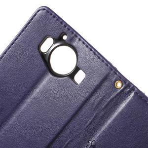 Butterfly PU kožené puzdro pre Microsoft Lumia 950 - fialové - 6