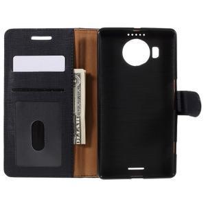 Cloth PU kožené puzdro pre mobil Microsoft Lumia 950 XL - čierne - 6