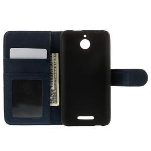 Folio PU kožené puzdro pre mobil HTC Desire 510 - tmavomodré - 6