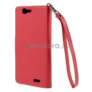 Červené peňaženkové puzdro na Huawei Ascend G7 - 6